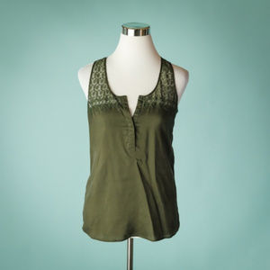 The Kooples Small Green Silk Lace Tank Top